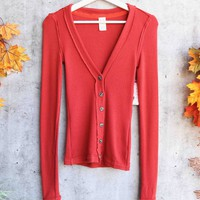 Free People - Call Me Cardi Fitted Button Down Cardigan Top - Red