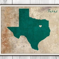 Texas Personalized Poster Art Print - TX Silhouette Rustic Vintage Style Gift - University Marble