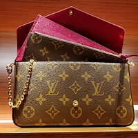 Louis Vuitton LV hot sale three-piece set, chain bag, card bag, coin purse, fashion lady one-shoulder messenger bag