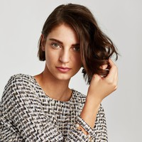 TWEED TOP WITH FAUX PEARL DETAILS DETAILS
