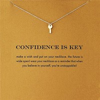 "Beautiful Dainty Key Charm Message Necklace ""Confidence is Key"" Gold Tone"