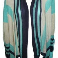 Say What? Womens Waterfall Open Cardigan Sweater Striped Small Mint Teal