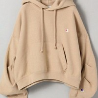 champion embroidery small logo loose hoodie sweatshirt