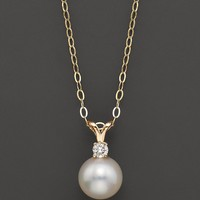 Cultured Pearl Pendant Necklace, Yellow Gold, 7.5 mm