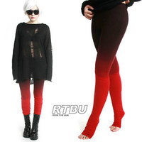 Mega Long Slouch Gathered Ruched Punk Tie Dip Dye Red Black Ombre Legging