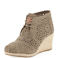 Moroccan Cutout Suede Wedge Boot, Taupe - TOMS