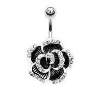 Rose Petal Belly Button Ring Gunmetal Jeweled