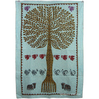 Antique Multicolor Patchwork Tree Of Life Tapestry Wall Hanging Art