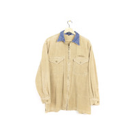 90s GUESS corduroy jacket - vintage 90s - tan + denim collar - medium