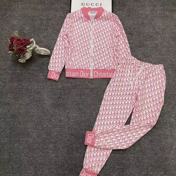 Dior New Popular Women Casual Round Collar Top Pants Set Two-Piece