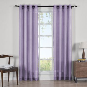 LAVENDER Abri Grommet Crushed Sheer Curtain Panels (Two Panels )