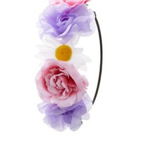 Multi Rose & Daisy Flower Crown by Charlotte Russe