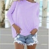 Sunnow New Womens Long Sleeve Blouse Slouch Neck Solid Casual Loose T-shirt Tops (L, Lavendar)