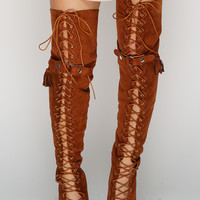 Tyra Thigh Boots - Camel