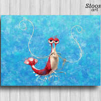 shrimp nautical poster finding dory party disney wall decor nursery painting