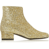 Saint Laurent - Glitter-finished leather ankle boots