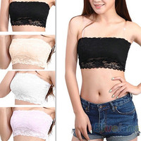 Women's Sexy Lace Casual Crop Boob Tube Top Bandeau Bra Strapless Seamless Solid = 1933035652