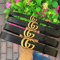 LV Louis Vuitton GG Belt fashion hot style classic gold buckle lovers style belt Bronze Buckle