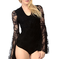 Black Embroidered Bell Sleeve Lace Bodysuit