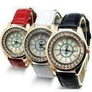 Mother of Pearl and Rose Gold Ladies Leather Watch - Black or White