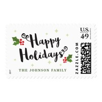 Happy holidays postage stamps with family name