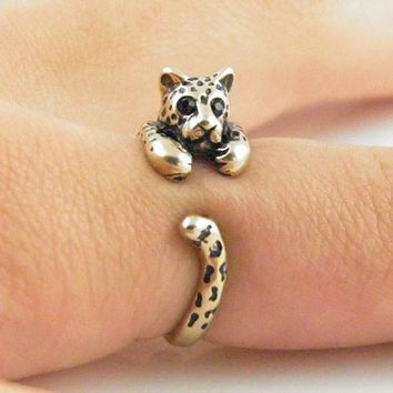 Animal Wrap Ring - Leopard - Yellow Bronze - Adjustable Ring