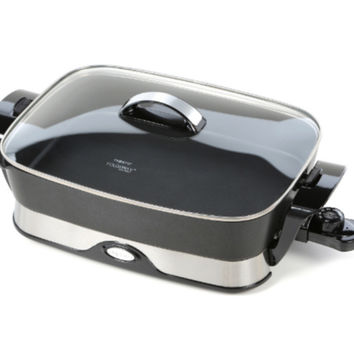 """Heavy-Duty Electric 16"""" Skillet with Lid Small Kitchen Appliance Black Finish"""