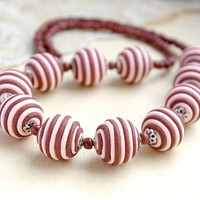 Chocolate and Coral Necklace - Striped Necklace - Bridesmaids jewelry