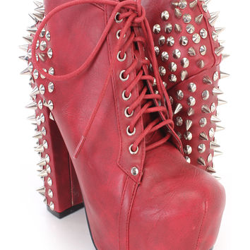 Dark Red Lace Up Spike Studded Chunky Heel Booties Faux Leather