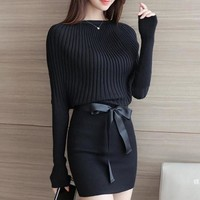 Warm and Charm Slim Sheath Package Hip Knitted Sweater Dress Long Sleeved Slash Neck Thick Autumn Bodycon Sweater Dress
