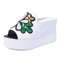 Women's Embroidered Flower Leather Platform Wedge Sandals