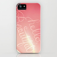 """""""Hello Beautiful"""" - hand lettered heart balloon print iPhone & iPod Case by JMore"""