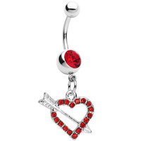Red Paved Impaled Heart Dangle Belly Ring | Body Candy Body Jewelry