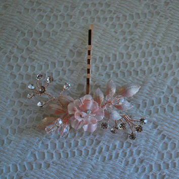 Bohemian Blush Rose Gold Floral Rhinestone & Crystal Spray Bobby Pin Bridal Wedding Hair Accessories Bride Hair piece Hairpins