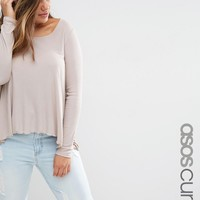 ASOS CURVE Swing Top in Slouchy Rib with Scoop Neck