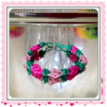 Rosebud Rubber Band Bracelet Valentine Bracelet in Pastel Pink, Hot Pink, and Green Rainbow Loom Friendship Bracelet Stretch Bracelet