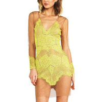 Yellow Lace Dress With V-neck