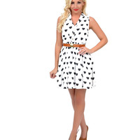 White & Black Heart Dotted Belted Button Up Flare Dress