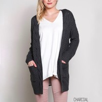 late at night open front cable knit cardigan sweater - charcoal