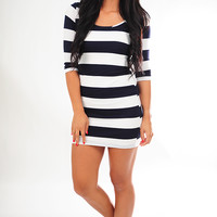 Rugged Route Dress: Navy/White