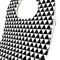 Baby Bib - Modern Baby Bib- Remix Triangles Baby Bib- Hipster Baby Bib -Black and White- White Bubble Dot Minky Backing - Handmade Baby Gift