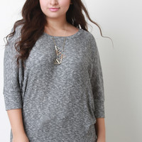 Melange Ribbed Knit Dolman Top