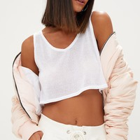 White V Neck Lightweight Knit Crop Top