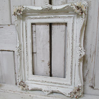 White picture frame large wooden antique shabby chic hand painted chalky French Nordic wood wall hanging anita spero