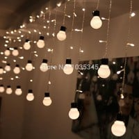 Novelty Outdoor lighting 48Beads with10 big size 5cm ball String LED Starry Light Rope patio Decor Fairy Icicle Lighting String