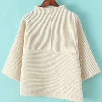 Beige Stand Collar Flare Sleeves Asymmetric Knit Sweater