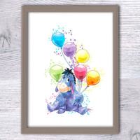 Eeyore Winnie the Pooh, Nursery wall art, Eeyore with balloons, Kid room, Boys room, Pooh Baby shower, Disney poster, Donkey ore, Blue, V41