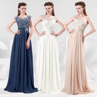 Beaded Evening Formal Bridesmaid Wedding dresses Long Maxi Party prom Gown dress