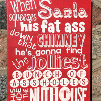 Typographic Christmas Vacation Clark Griswold Sign,Santa Fat Ass, Expressive Word Canvas, wall decor,Christmas Holiday, Funny
