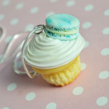 French Macaron Vanilla Cupcake Miniature Food Necklace, Polymer Clay